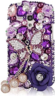 STENES Alcatel OneTouch Fierce XL Case - [Luxurious Series] 3D Handmade Shiny Crystal Bling Case with Retro Bowknot Anti Dust Plug - Butterfly Pearl Pendant Rose Flowers/Purple