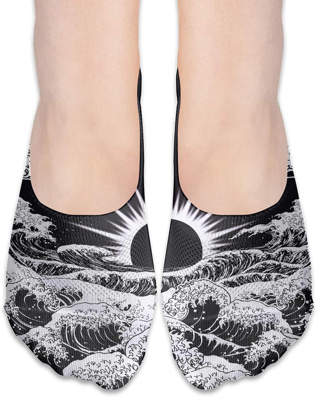 Sunrise Black And White Waves Comfortable Boat Socks-Sweat Wicking Non-Slip Socks Leisure Sports Deodorant Foot Socks