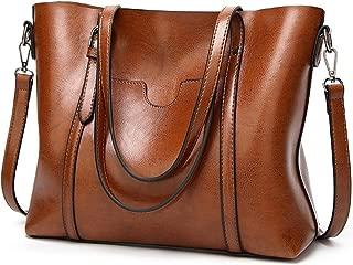 "UTO Women Tote Bag Top Handle Large Capacity 13.3"" Laptop Shoulder Purse (Brown)"