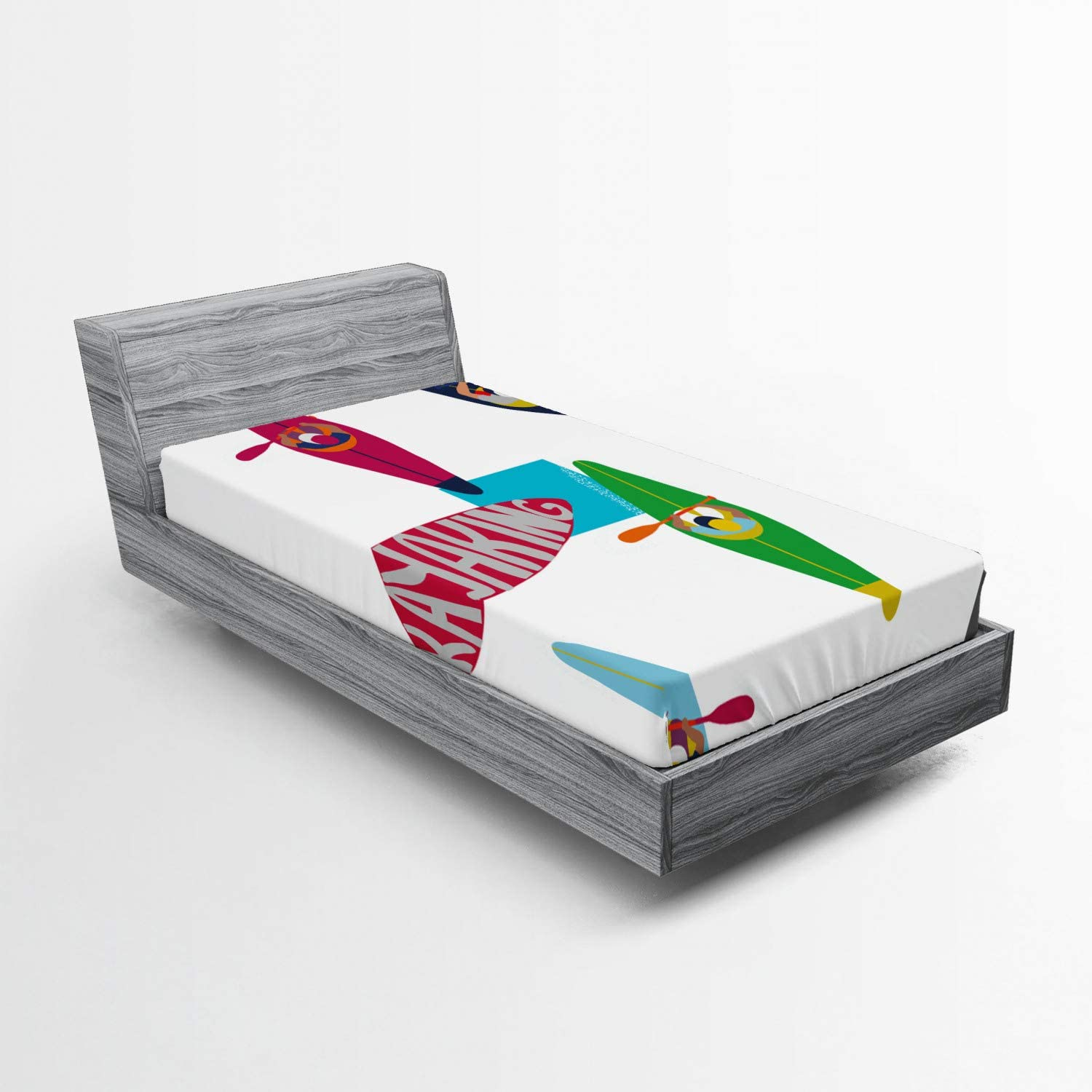 Lunarable Oars Fitted Sheet Ranking TOP14 Water Sports supreme Pattern Ka Themed with