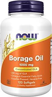 NOW Supplements, Borage Oil 1000 mg with 240mg of GLA (Gamma Linolenic Acid), 120 Softgels