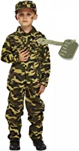 Army Boy Soldier Action Man Kids Fancy Dress Costume Outfit With Dog Tag Age 7-9