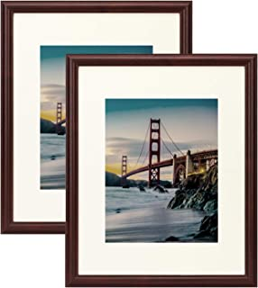 Frametory, Set of 2-16x20 Photo Frame - Ivory Mat for 11x14 Pictures- Walnut Color, Curved Bevel Design - Sawtooth Hanger, Swivel Tabs - Wall Display