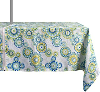 ColorBird Medallion Flower Outdoor Tablecloth Water Resistant White/Light Green Polyester Fabric Table Cover with Zipper Umbrella Hole for Patio Garden Tabletop Decor, 60 x 84 Inch, Zippered