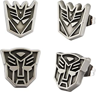 Hasbro Jewelry Unisex Adult Transformers Base Metal with Antique Nickel Finish Autobot & Decepticon Logo with Stainless Steel Post Stud Earrings Set, Silver, One Size