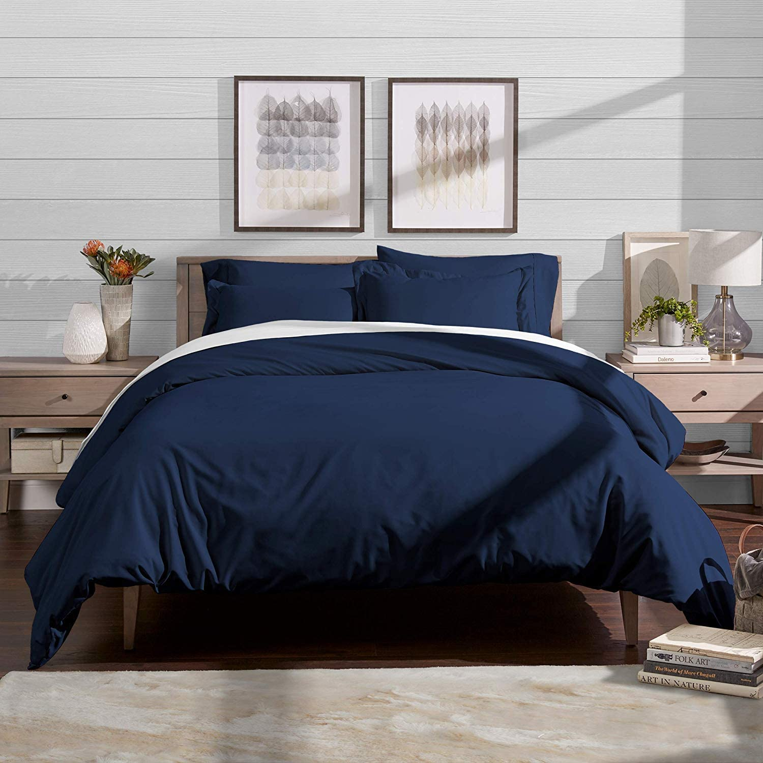 Duvet Cover Set with Zipper Closure 3pc Duvet Cover Set Oversized Super King (120'' x 98'') Size with Corner Ties,100% Egyptian Cotton 1000 Thread Count (Oversized Super King Size Navy bluee)