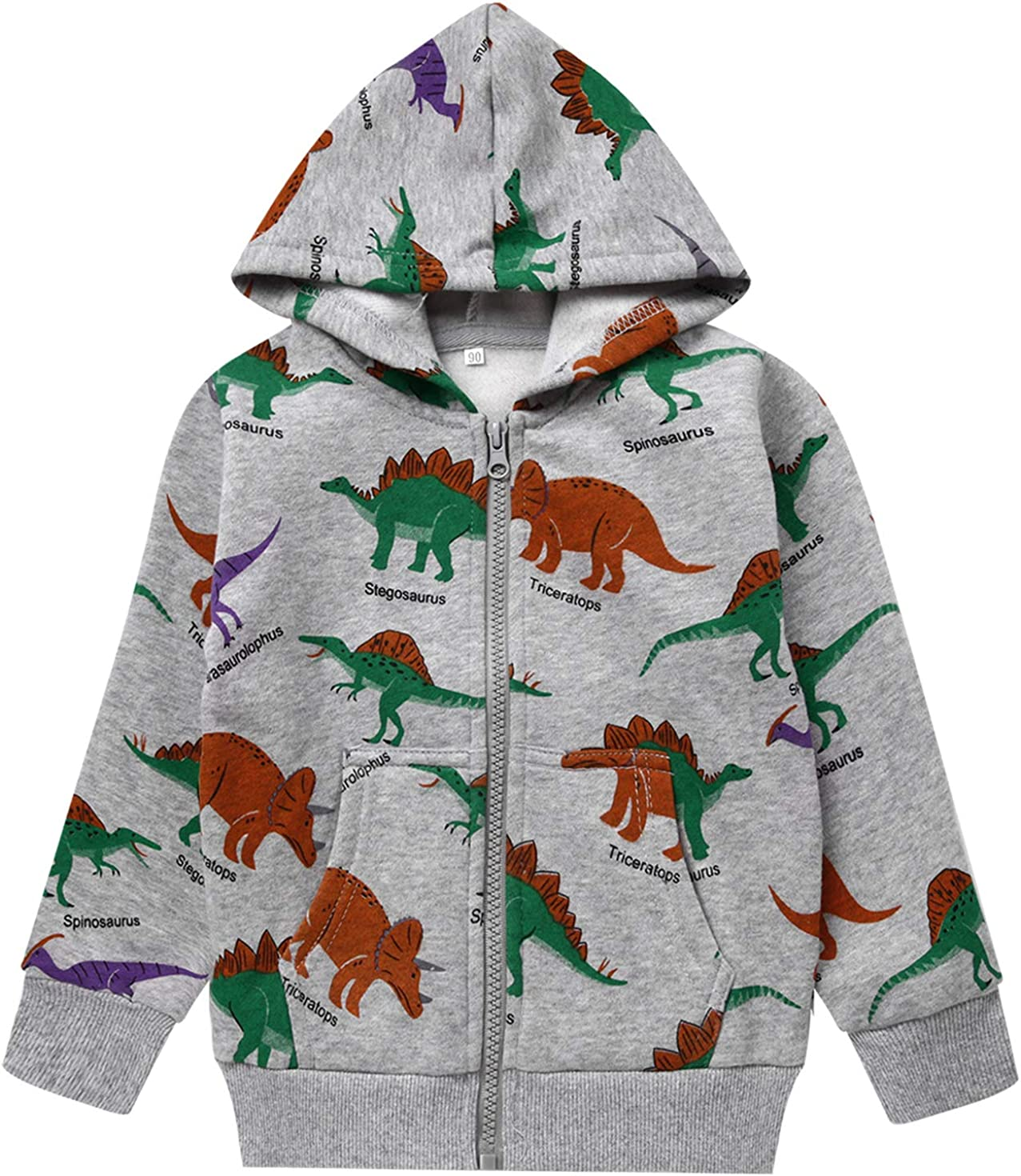 Popshion Boys Toddler Cartoon Opening large release sale Dinosaur Cool Hoodies Jacket Long Super sale period limited
