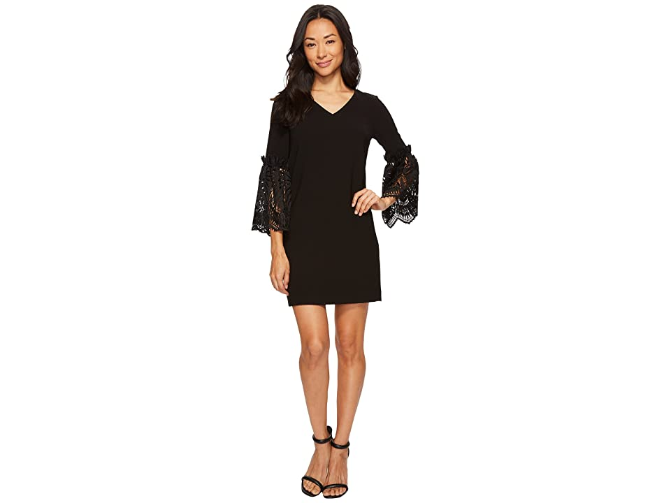 Tahari by ASL Petite Lace Bell Sleeve Shift (Black) Women