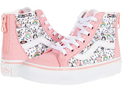 Vans Kids Sk8-Hi Zip (Little Kid) ((Puppicorns) True White/Flamingo Pink) Girls Shoes