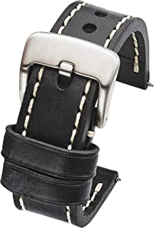 Thick Padded Stitched Genuine Oil Leather Watch Band - Black & Brown in Sizes 22mm, 24mm & 26mm