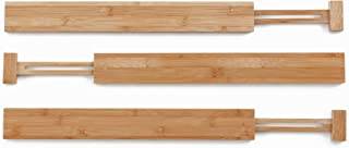 Kenley Bamboo Drawer Divider Organizer - Set of 3 Adjustable Expandable Dividers for Kitchen Utensils and Tools, Bedroom Dresser Clothes Underwear, Bathroom - Spring Loaded Wooden Organization Inserts