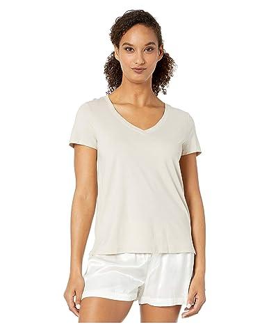 Hanro Sleep Lounge Short Sleeve V-Neck Shirt (Calm Beige) Women