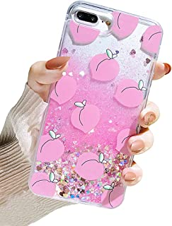 UnnFiko Liquid Peaches Case iPhone 6 Plus/iPhone 6s Plus, Summer Series 3D Cute Quicksand Flowing Floating Bling Glitter Sparkle Soft Case for Girls Women (Peaches, iPhone 6 Plus / 6s Plus)