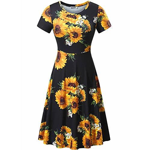 e73d21c936 HUHOT Women Short Sleeve Round Neck Summer Casual Flared Midi Dress