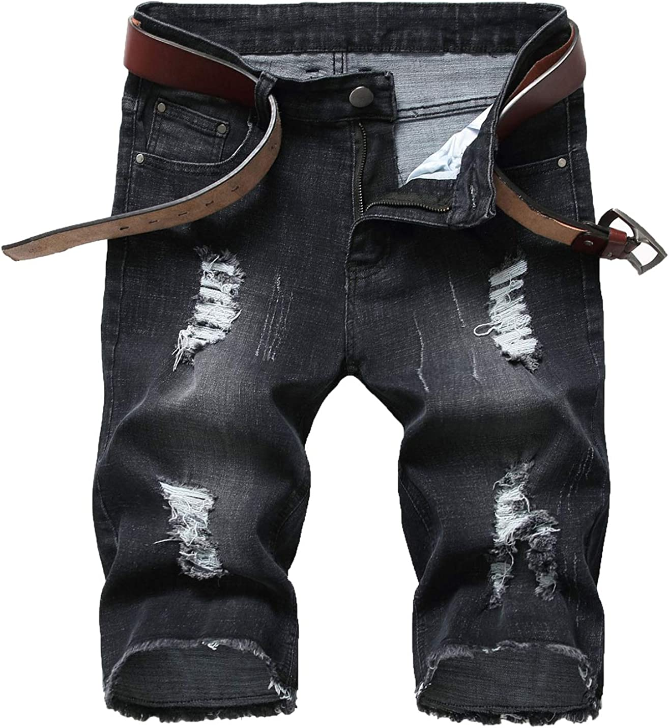 PAODIKUAI Men Ripped Hole Mid Rise Stretch Raw Hem Washed Denim Shorts