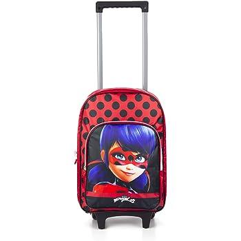 Ladybug et Tikki Miraculous Ladybug Sac /à Dos /à roulettes pour Enfants Noir et Rouge