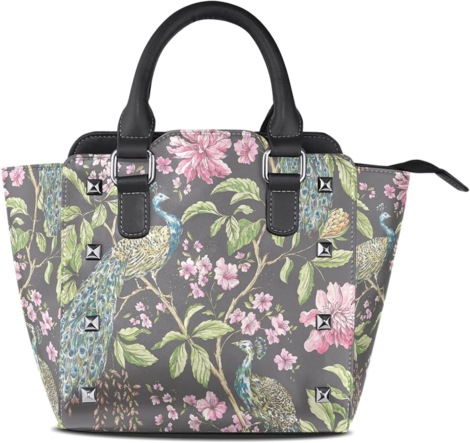 Sunlome Retro Peacock Flower Print Women's Leather Tote Shoulder Bags Handbags