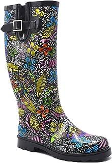 YOANGRY Women's Printed Tall Rain Boots Rubber Rain Footwear with Comfort Insole Waterproof Rain Boot Garden Boots