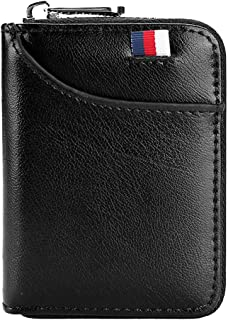 Hibate 12 Cards Slots Leather Credit Card Holder Wallet RFID Blocking for Men Women Business ID Case Zipper Pocket Purse - Black