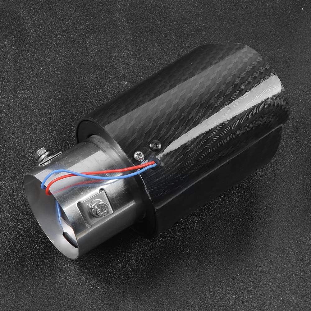 Akozon Universal LED Endrohr Modifiziertes Kohlefaser LED Leuchtauspuffsystem Heckkehlteil Auto Auspuffrohr Gerade Blu-ray