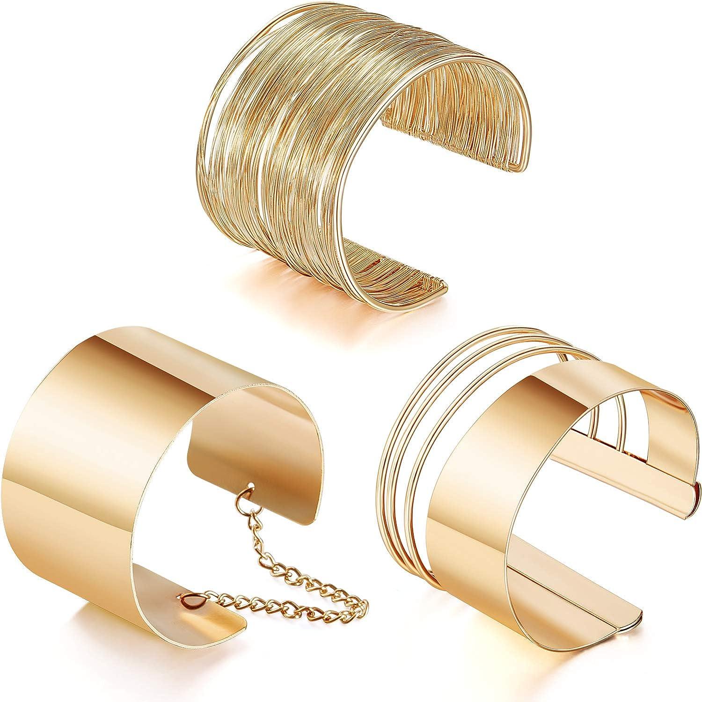 Hicarer 3 Piezas Pulseras Brazaletes Ancho de Puño Pulsera Ajustable de Aleación Pulsera de Bobina Oro para Mujeres