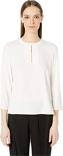Satin Crepe Key Hold Long Sleeve Blouse
