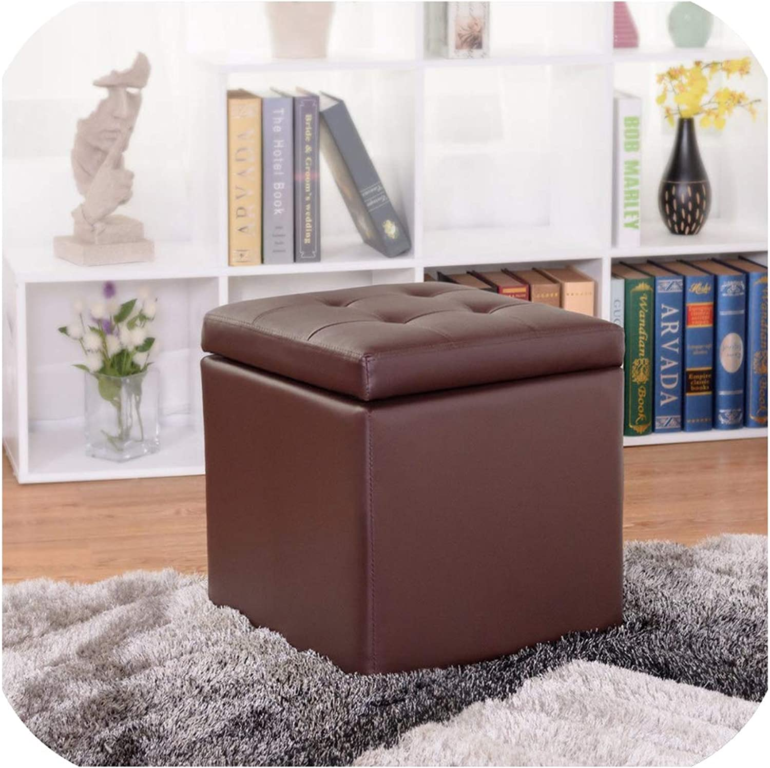 KKK-3boss 16  Storage Box Square Seat Brown Foot Stool Chair Lounge Cube Hinge Top Home Furniture,As Show