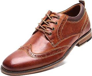 rismart Hombre Zapato Grueso Vestir Wing Tip Cuero Zapatos De Cordones