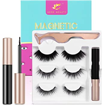 2020 Upgraded Magnetic Eyelashes and Eyeliner Kit, Magnetic Eyeliner with Natural Look Reusable Premium Magnetic Eyelashes Venus 3 pairs NERE BEAUTY