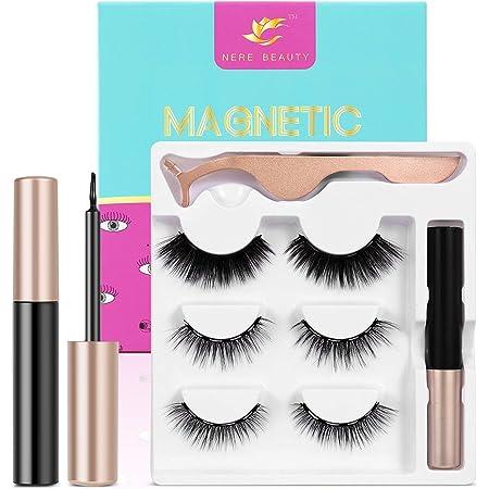 2021Upgraded Magnetic Eyelashes and Eyeliner Kit, Magnetic Eyeliner with Natural Look Reusable Premium Magnetic Eyelashes Venus 3 pairs NERE BEAUTY