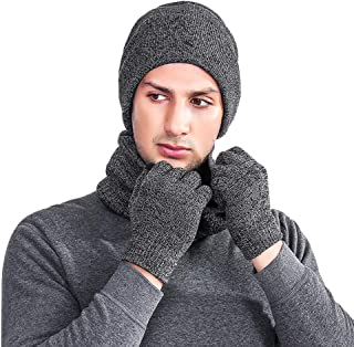 LLmoway Men Women Winter Warm Beanie Scarf Touch Screen Gloves Fleece Knitted Set