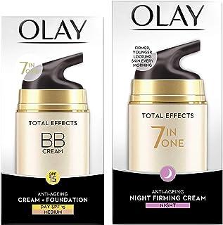 Olay Day Cream Total Effects 7 in 1 BB Cream SPF 15, 50g And Olay Night Cream Total Effects 7 in 1, Anti-Ageing Moisturise...
