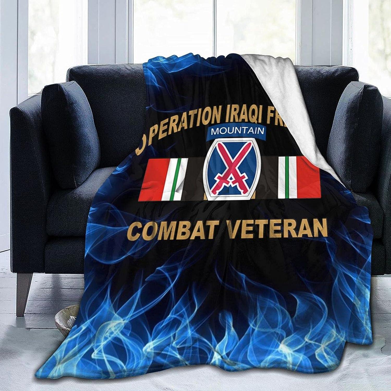 10th Mountain Popular overseas Nippon regular agency Division Iraq Combat Print Flannel Veteran Blanket