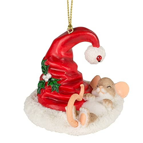 Holiday Cat Nap Mouse in Santa Claus Hat 3 Inch Resin Hanging Tree Ornament - Mouse Christmas Ornaments: Amazon.com