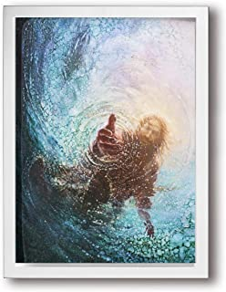 ArthurBarros The Hand of God Painting - Jesus Reaching Into Water Canvas Wall Art, Oil Painting Wall Paintings Canvas Paintings Home Decor Prints Ready for Hanging