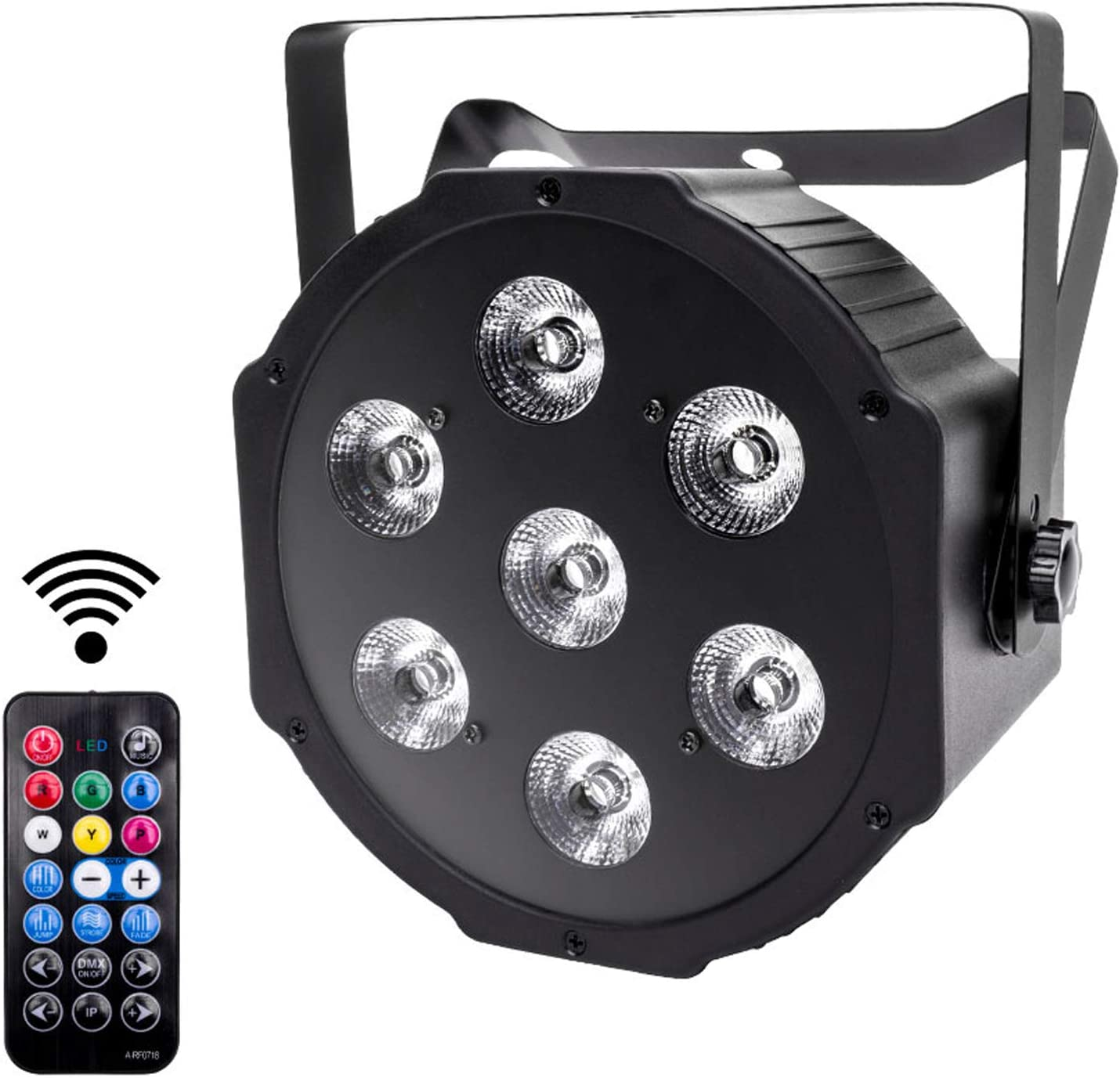 UKing Foco LED Par Luces de Escenrio DMX 7leds RGBW luminación con Control Remoto Sonido Activado 8 Modos Luz de Discoteca para DJ Bar Boda Navidad