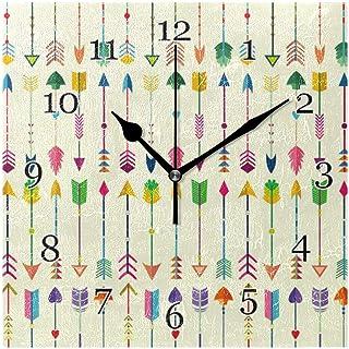 Färgglada tribal pilar mönster väggklocka tyst icke-tickande fyrkantig konst målning klocka för hem kontor skoldekor