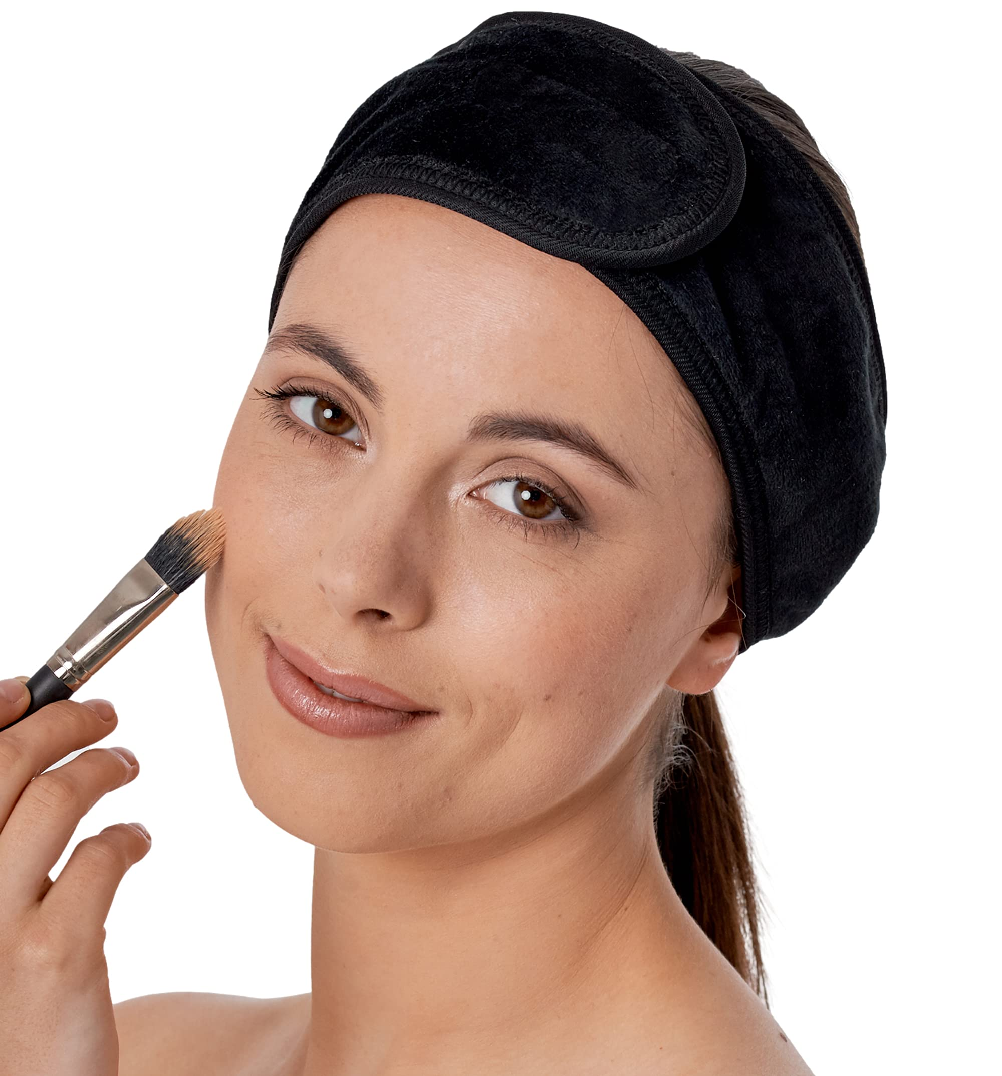 Spa Headband for Washing Face - Makeup & Skincare Face Wash Head Band - Face Mask Towel Terry Hair Band for Women - Black