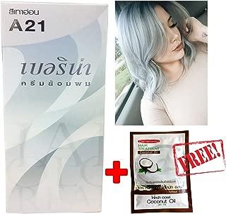 Berina A21 Light Grey Silver Permanent Hair Dye Color Cream Unisex - Punk Style+ Free Coconut Oil Hair Treatment