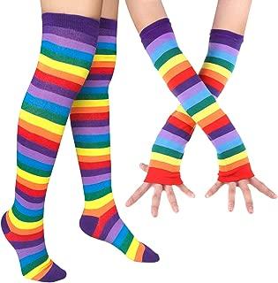 Womens Rainbow Socks Striped Knee High Socks Arm Warmer Fingerless Gloves Set