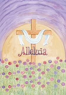 Toland Home Garden Alleluia 12.5 x 18 Inch Decorative Pastel Flower Easter Holiday Jesus Cross Garden Flag