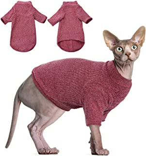 DENTRUN Sphynx Hairless Cats Shirt, Pullover Kitten T-Shirts with Sleeves, Breathable Cat Wear Turtleneck Sweater, Adorabl...