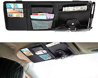 Guangyu Auto Sonnenblende Organizer, Auto Innenraum Zubehör Sonnenbrille CD Karten,Bankkarte, kleine Dokumenten Aufbewahrungstasche, PU Leder,Großraumtasche mit Reißverschluss (schwarz)