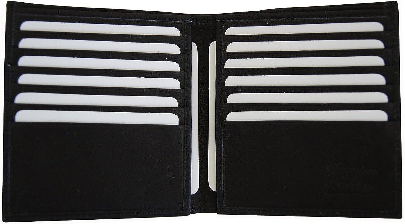 AG Wallets Men's Cowhide Leather European Multi-Card Bifold Wallet Hipster