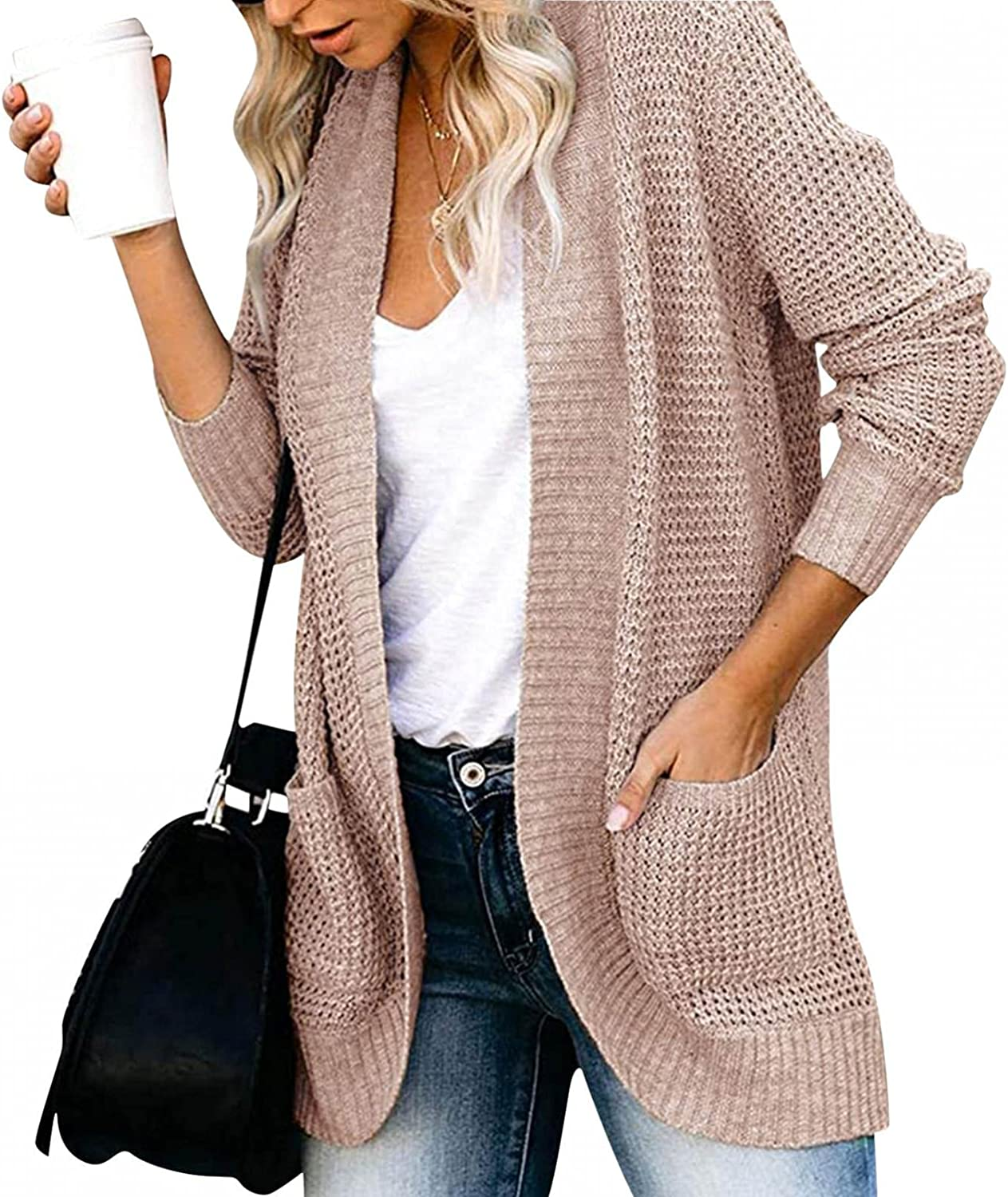 Cardigan Sweaters for Women,Women's Long Sleeve Cable Knit Sweater Open Front Cardigan Oversized Outerwear with Pockets