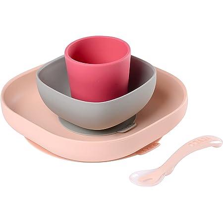 BÉABA, Set Vaisselle Silicone Repas Bébé, Avec Ventouse, Anti-dérapant, 4 Pièces, Assiette + Bol+ Verre + Cuillère, Silicone Saine et Durable, Compatible lave-vaisselle, Micro-onde, Rose
