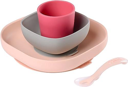 BÉABA, Set Vaisselle Silicone Repas Bébé, Avec Ventouse, Anti-dérapant, 4 Pièces, Assiette + Bol+ Verre + Cuillère, S...