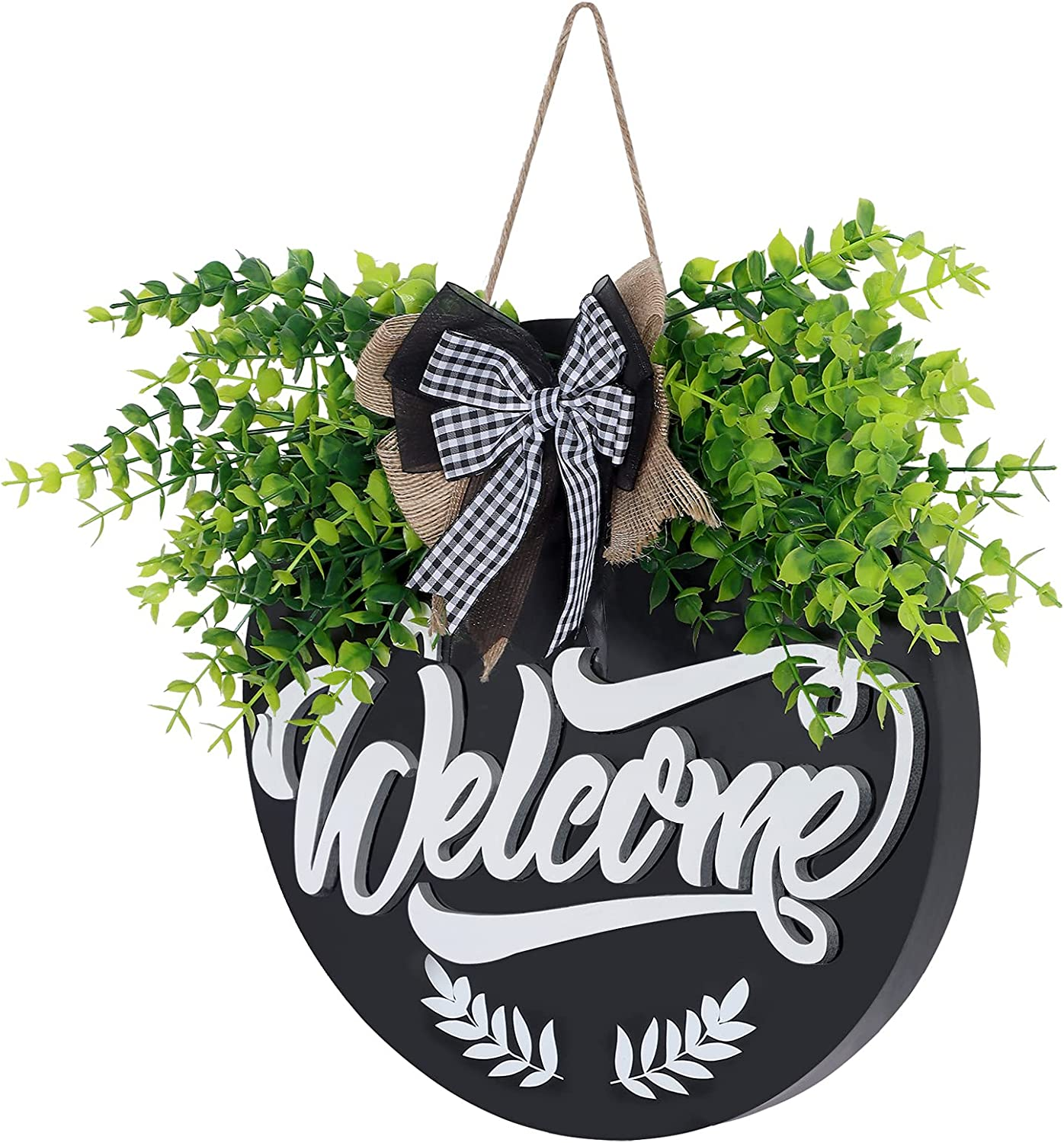 Welcome Sign for Front Door Decor,Welcome Door Sign for Front Porch Decor,Thick Wood Door Decorations Hanging Outdoor for Farmhouse Decor, Welcome Door Hanger Front Door Sign for Housewarming Gift