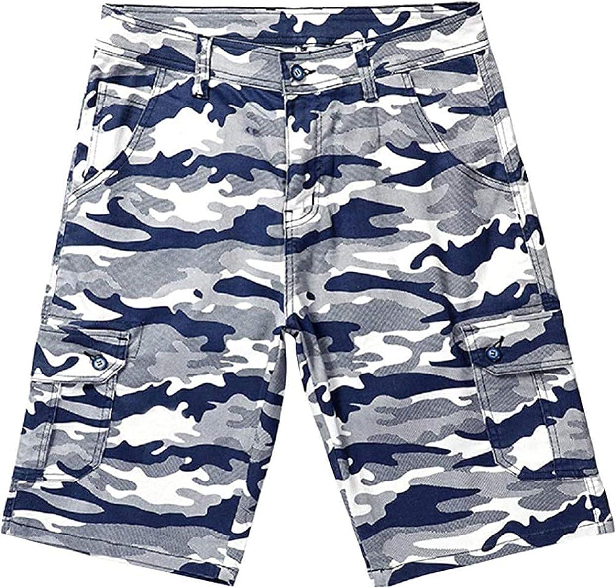 HFStorry Men's Standard Fit Camouflage Knee-Length Cargo Bermuda Shorts