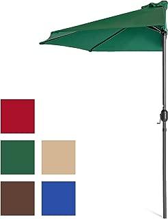Best Choice Products 9ft Steel Half Patio Umbrella for Backyard, Deck, Garden w/Crank Mechanism, UV- and Water-Resistant Fabric - Green